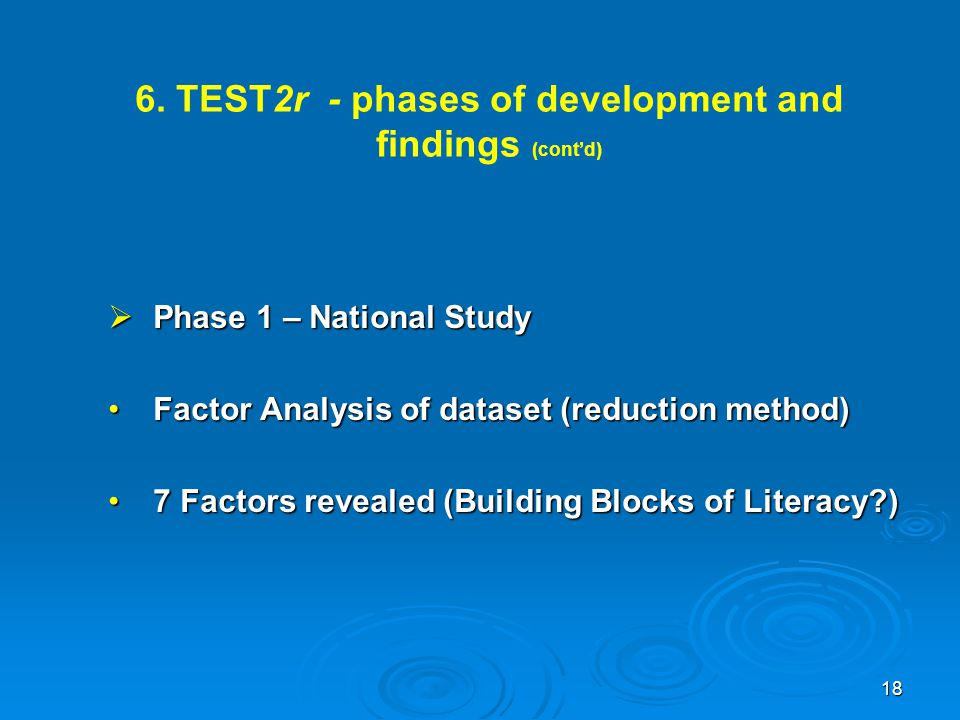 6. TEST2r - phases of development and findings (cont'd)