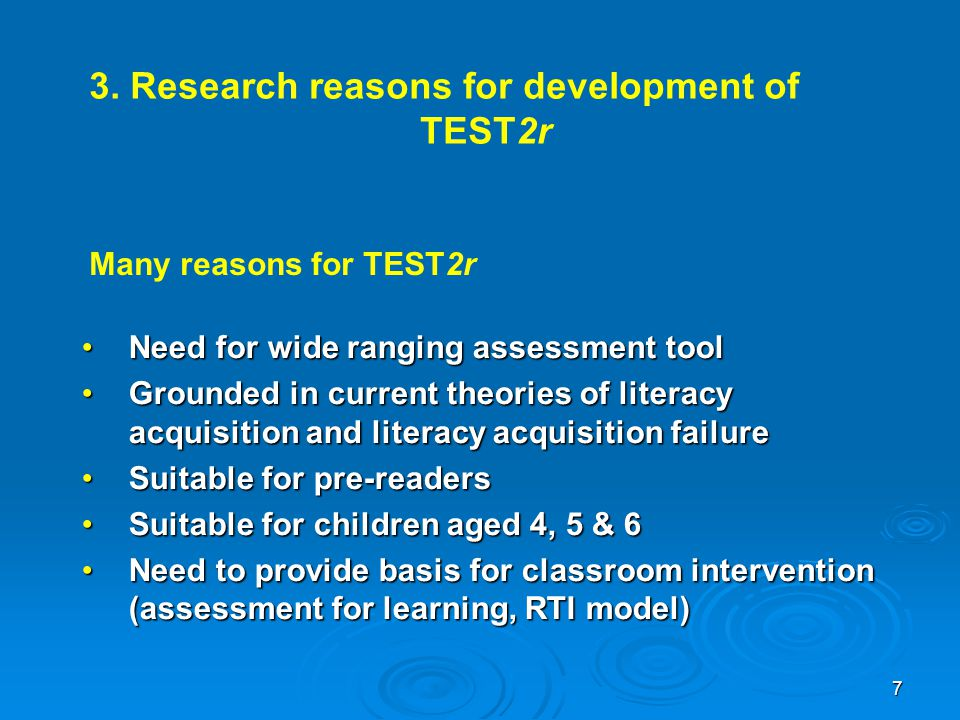 3. Research reasons for development of TEST2r