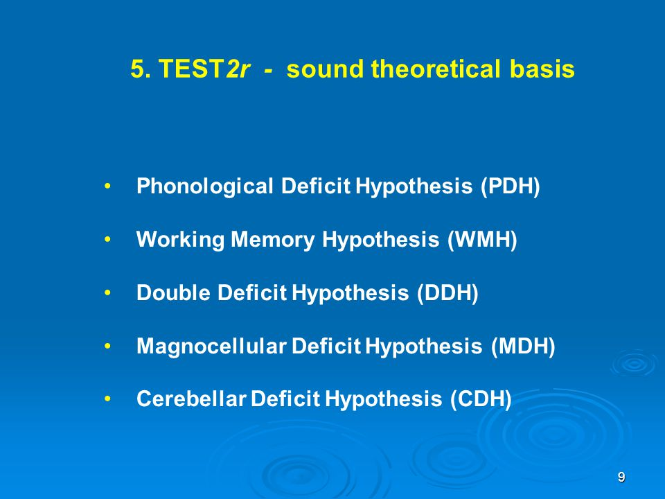5. TEST2r - sound theoretical basis