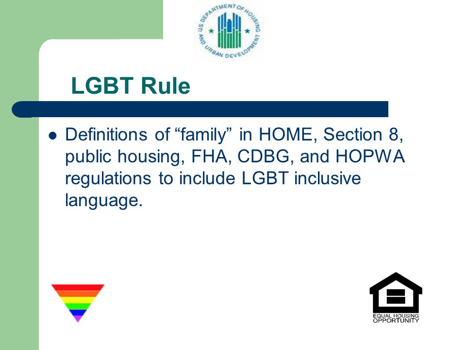 LGBT Rule Definitions of family in HOME, Section 8, public housing, FHA, CDBG, and HOPWA regulations to include LGBT inclusive language.