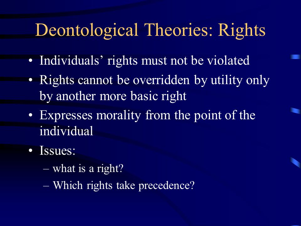 Deontological Theories: Rights