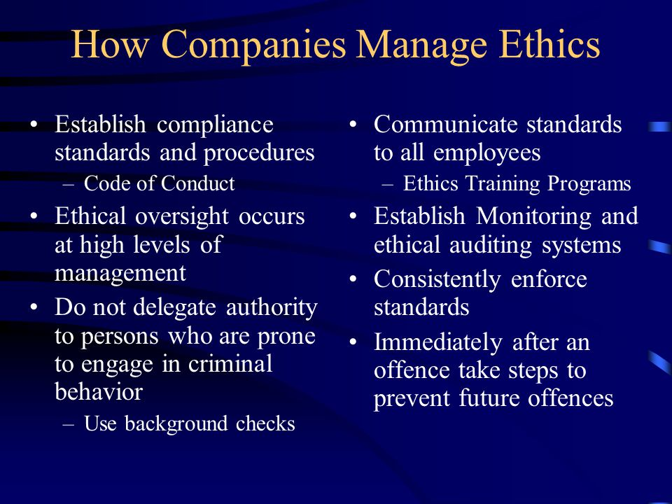 How Companies Manage Ethics