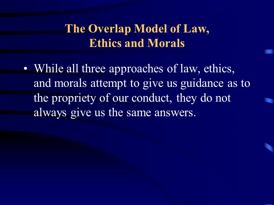 The Overlap Model of Law, Ethics and Morals
