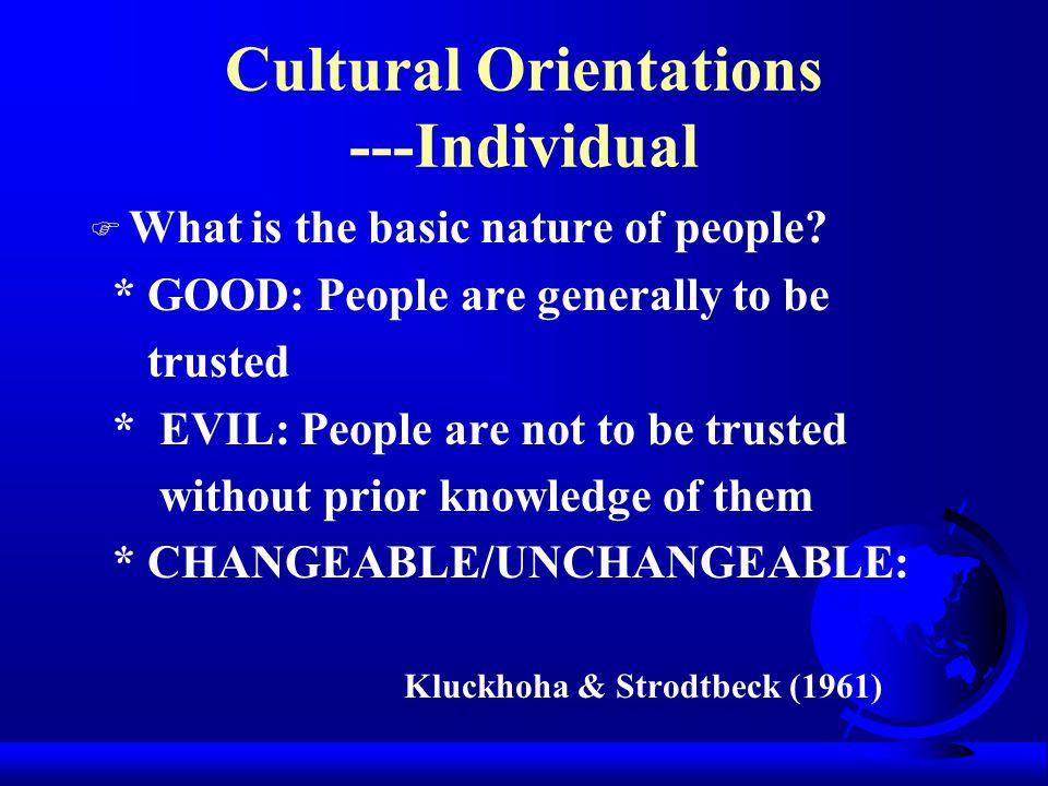 Cultural Orientations ---Individual