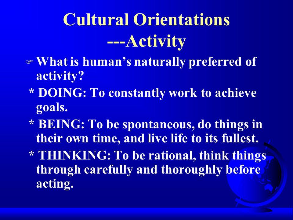 Cultural Orientations ---Activity