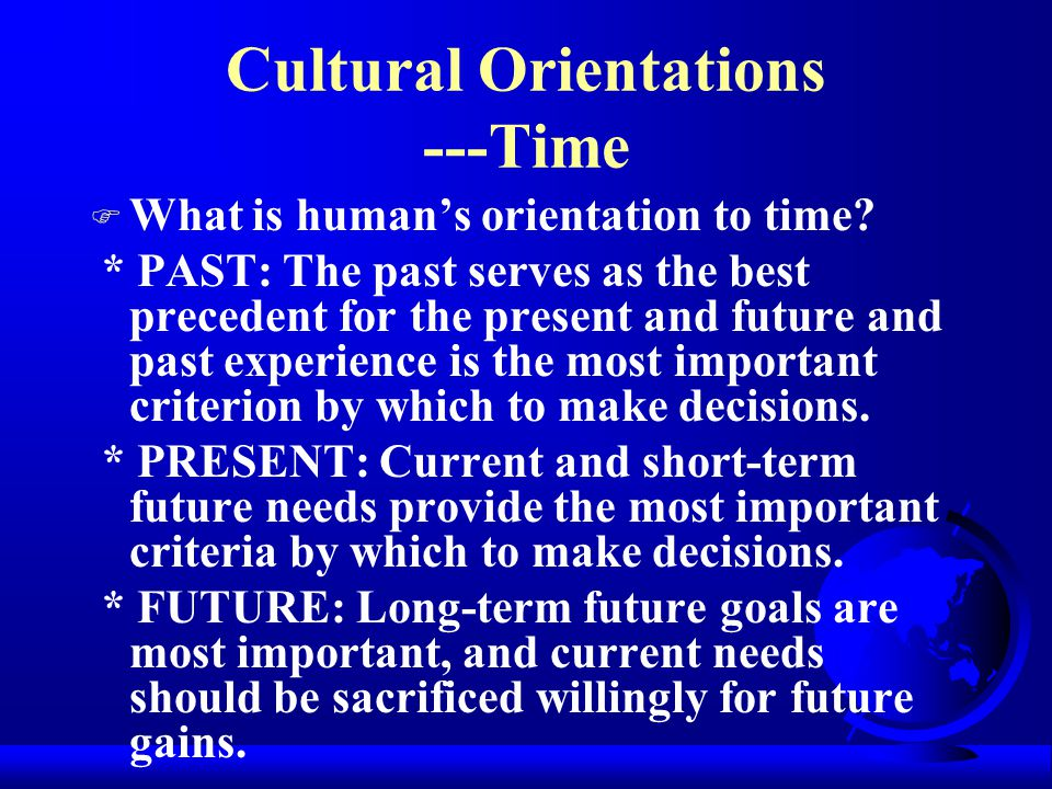 Cultural Orientations ---Time