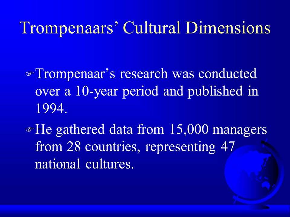 trompenaars cultural dimensions of germany Please select a country in the dropdown menu below to see the values for the 6 dimensions  home  free  compare countries  hofstede insights enables you.