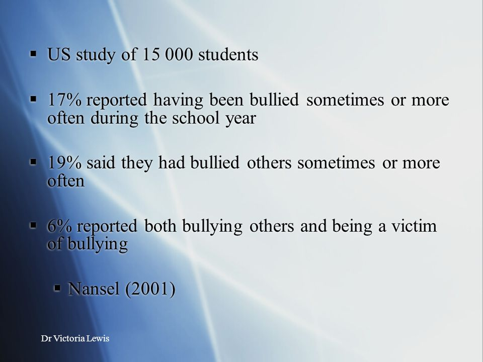 19% said they had bullied others sometimes or more often