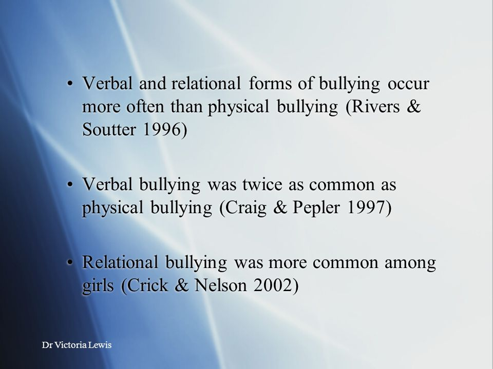 Relational bullying was more common among girls (Crick & Nelson 2002)