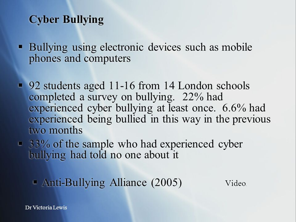 Bullying using electronic devices such as mobile phones and computers