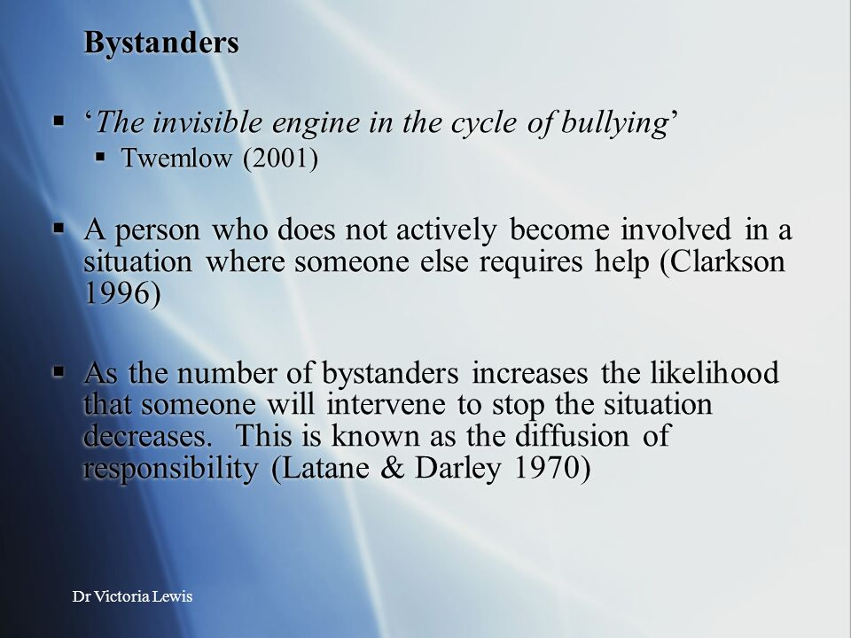 'The invisible engine in the cycle of bullying'