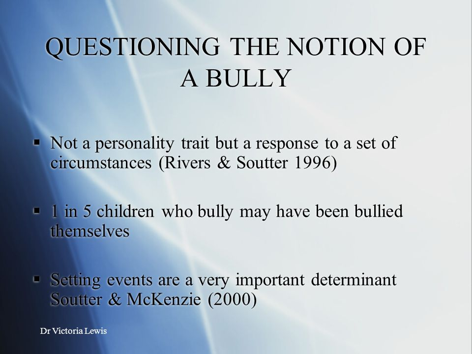 QUESTIONING THE NOTION OF A BULLY
