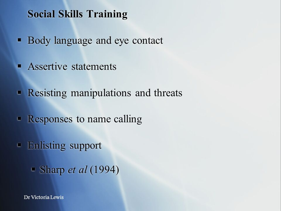 Social Skills Training Body language and eye contact