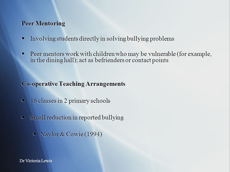 Involving students directly in solving bullying problems