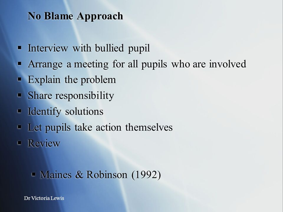 No Blame Approach Interview with bullied pupil