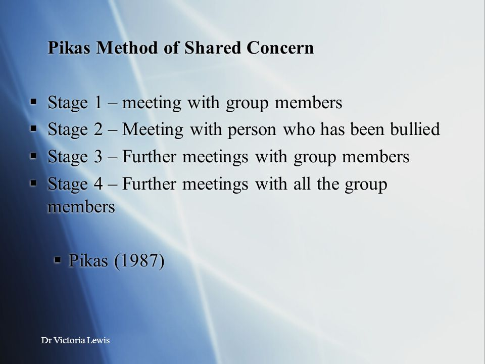 Pikas Method of Shared Concern Stage 1 – meeting with group members