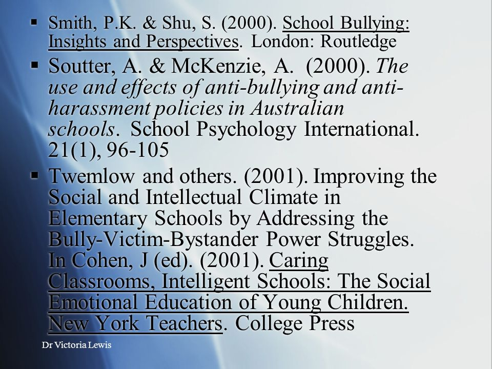 Smith, P.K. & Shu, S. (2000). School Bullying: Insights and Perspectives. London: Routledge