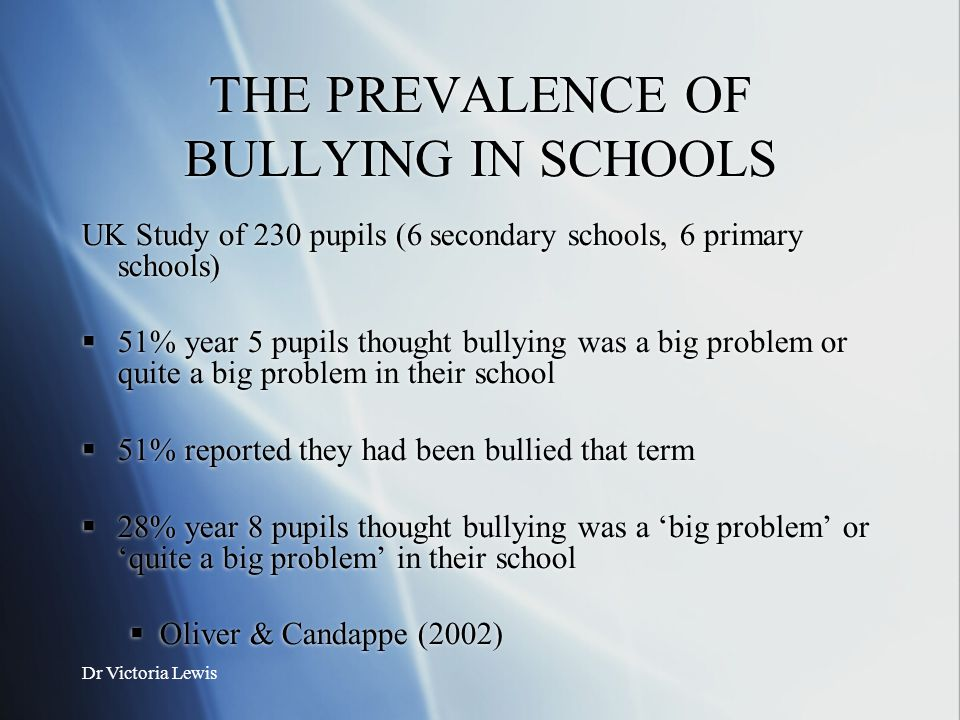THE PREVALENCE OF BULLYING IN SCHOOLS