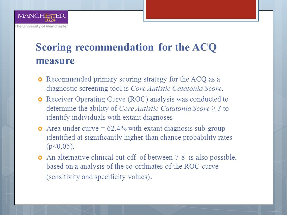 Scoring recommendation for the ACQ measure