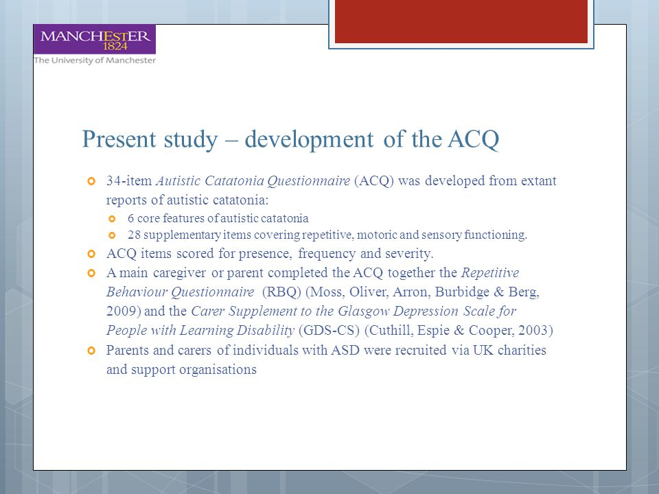 Present study – development of the ACQ