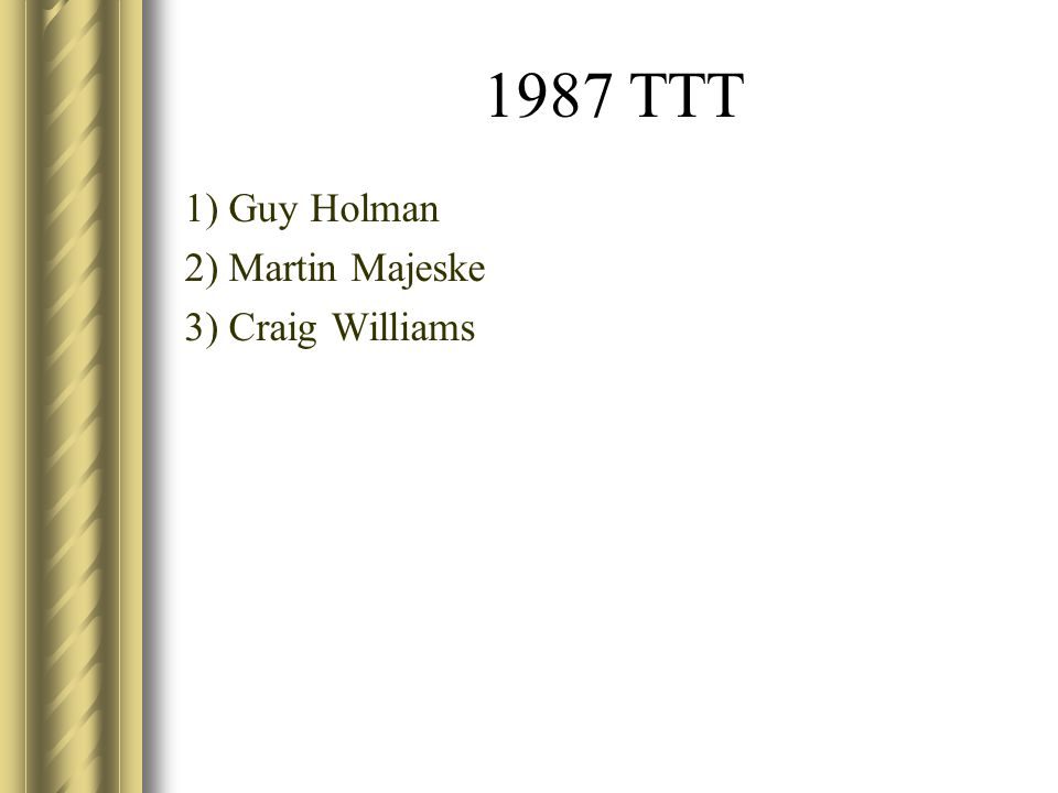 1987 TTT 1) Guy Holman 2) Martin Majeske 3) Craig Williams