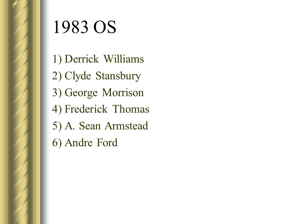 1983 OS 1) Derrick Williams 2) Clyde Stansbury 3) George Morrison