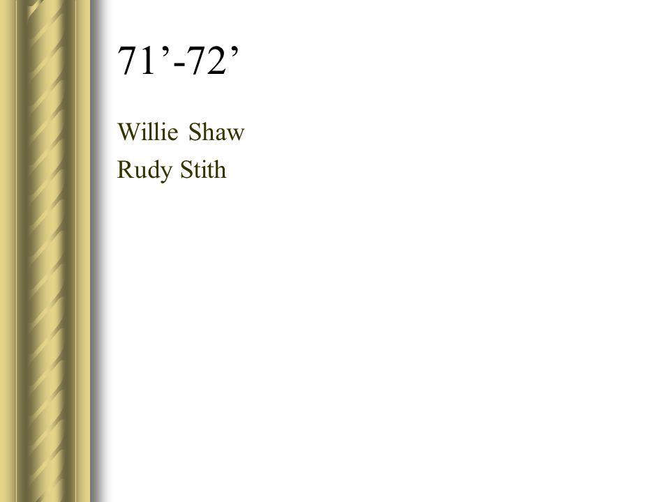 71'-72' Willie Shaw Rudy Stith
