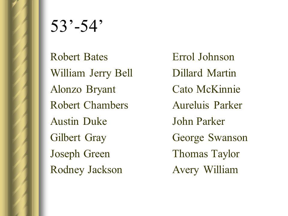 53'-54' Robert Bates William Jerry Bell Alonzo Bryant Robert Chambers