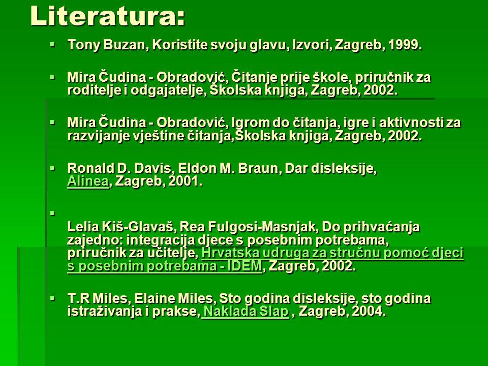 Literatura: Tony Buzan, Koristite svoju glavu, Izvori, Zagreb, 1999.