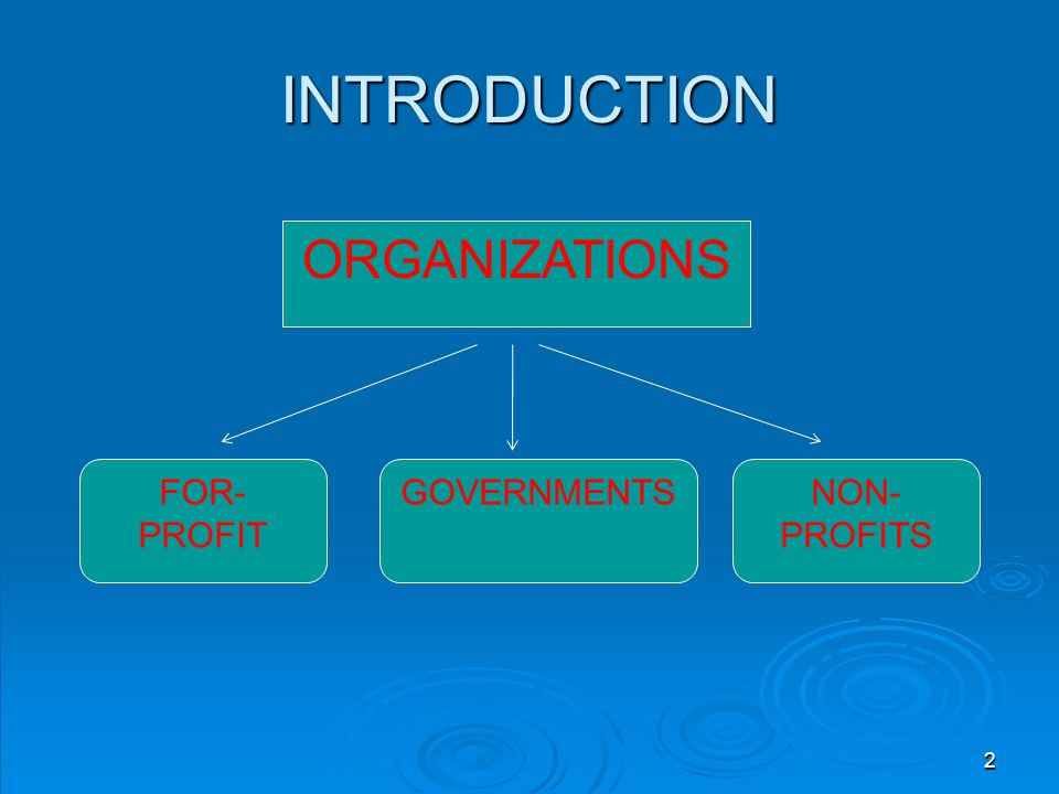 INTRODUCTION ORGANIZATIONS FOR-PROFIT GOVERNMENTS NON-PROFITS