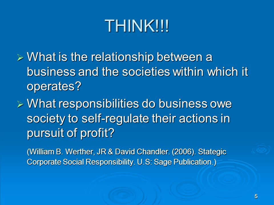 THINK!!! What is the relationship between a business and the societies within which it operates