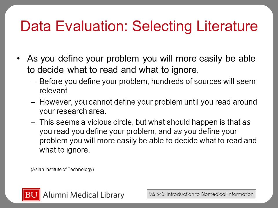 Data Evaluation: Selecting Literature