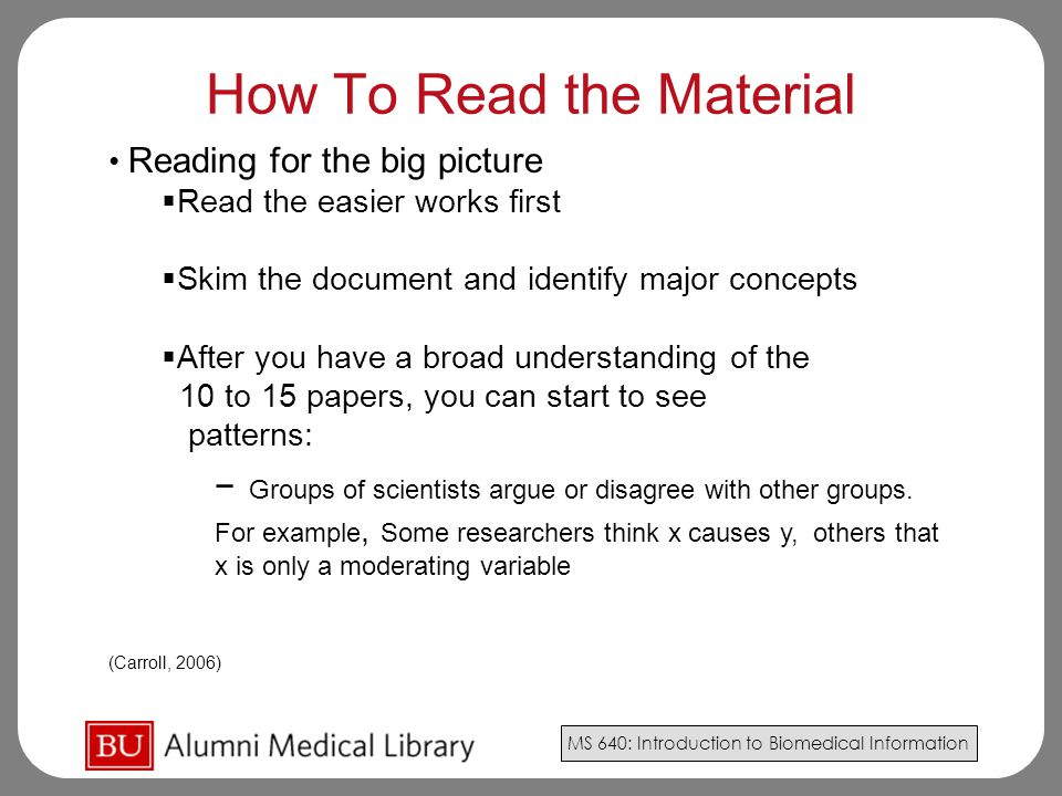 How To Read the Material