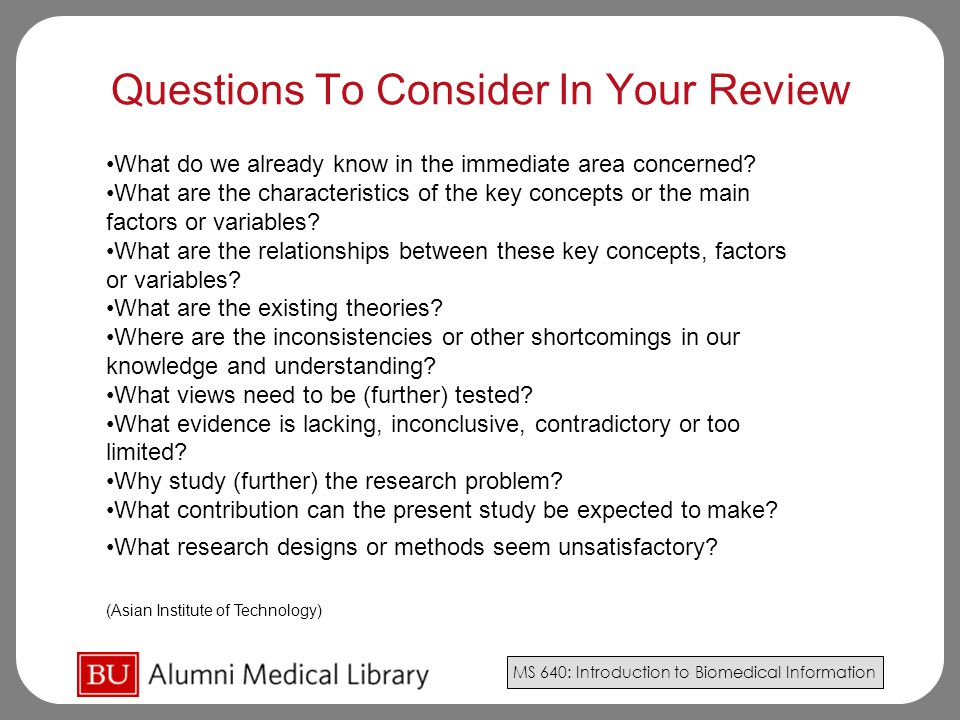 Questions To Consider In Your Review