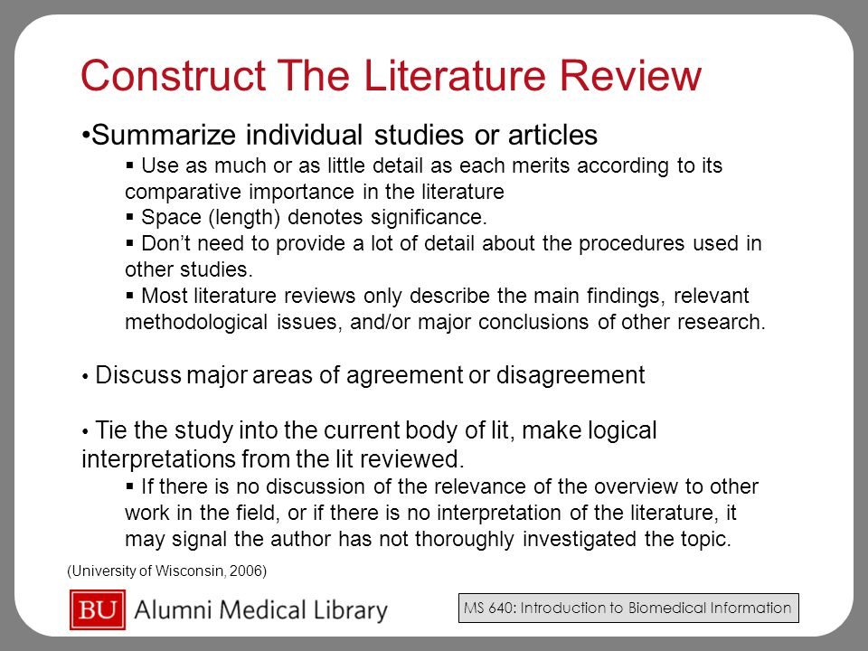 Construct The Literature Review