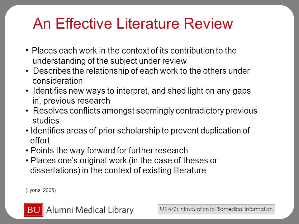An Effective Literature Review