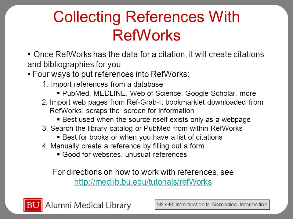 Collecting References With RefWorks