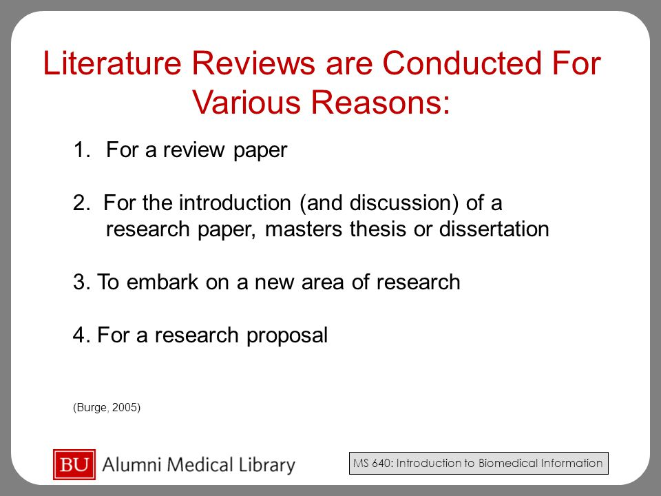 Literature Reviews are Conducted For
