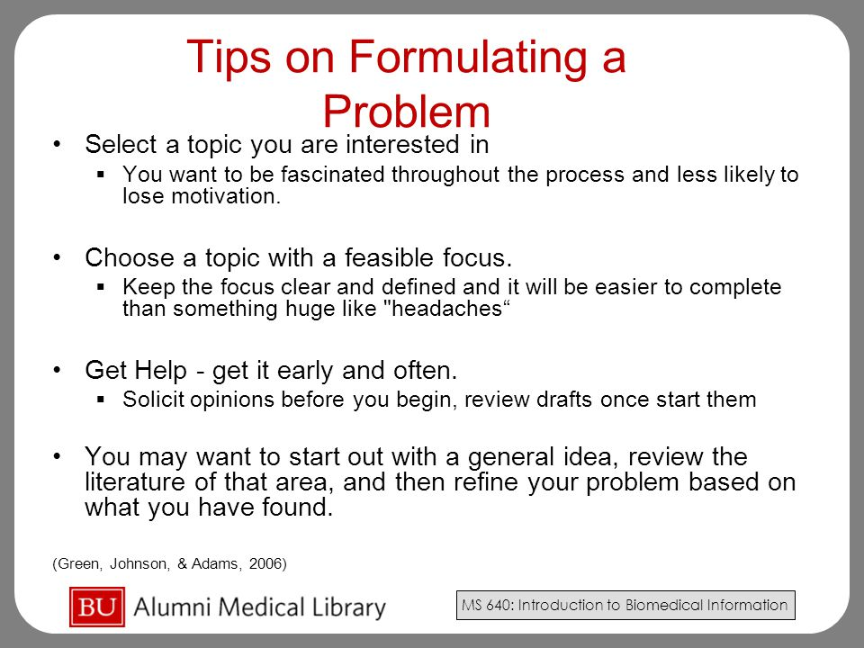 Tips on Formulating a Problem