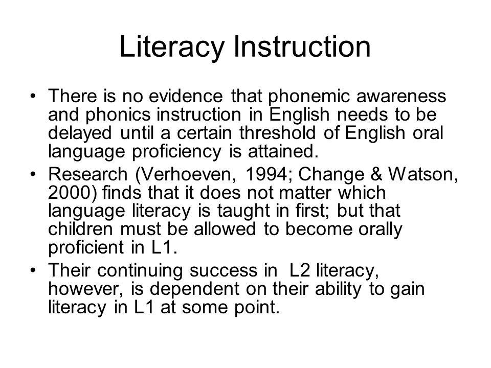 Literacy Instruction