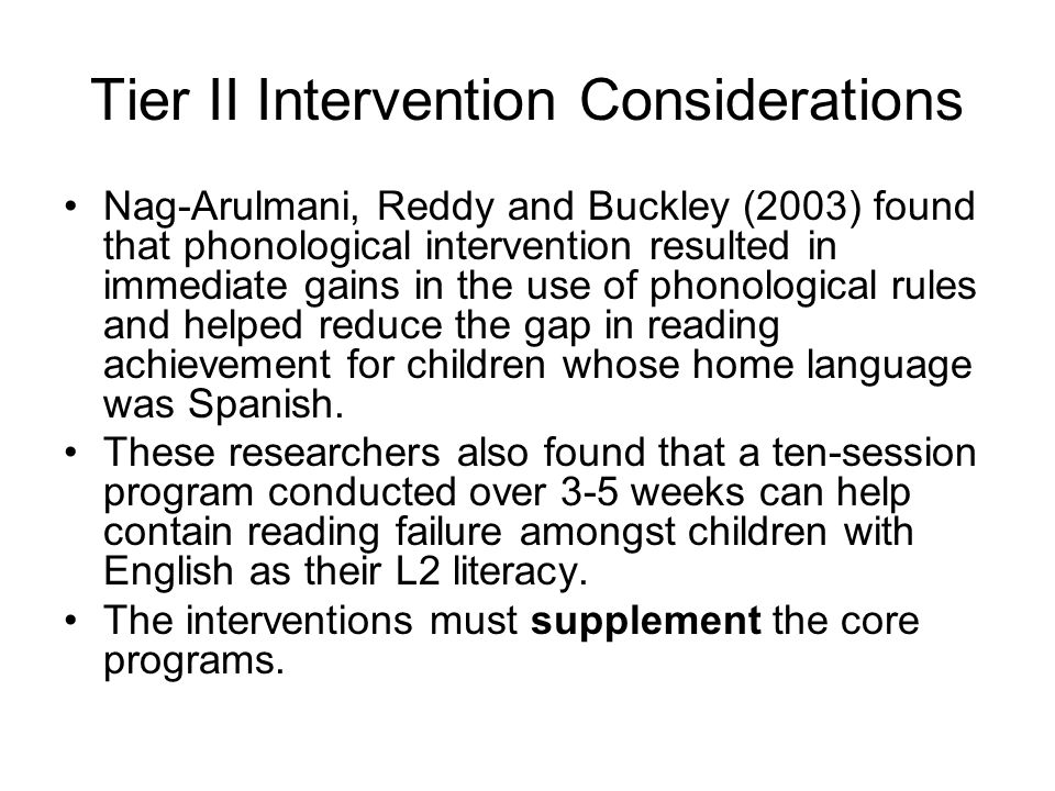 Tier II Intervention Considerations