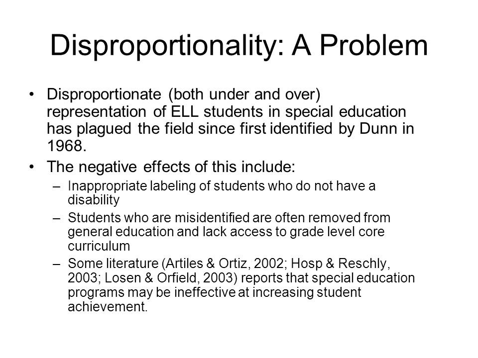 Disproportionality: A Problem