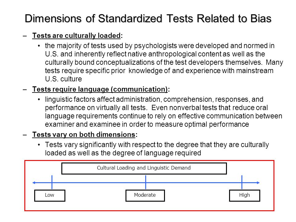 Dimensions of Standardized Tests Related to Bias