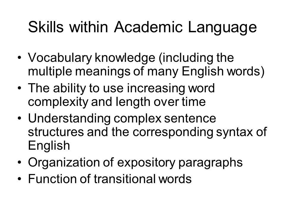 Skills within Academic Language