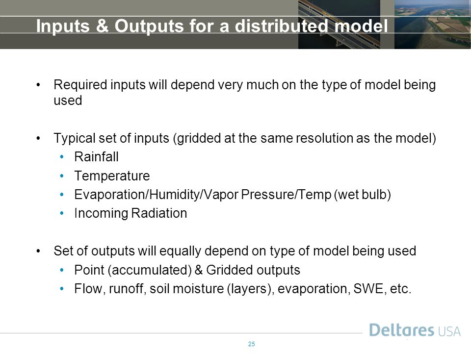 Inputs & Outputs for a distributed model