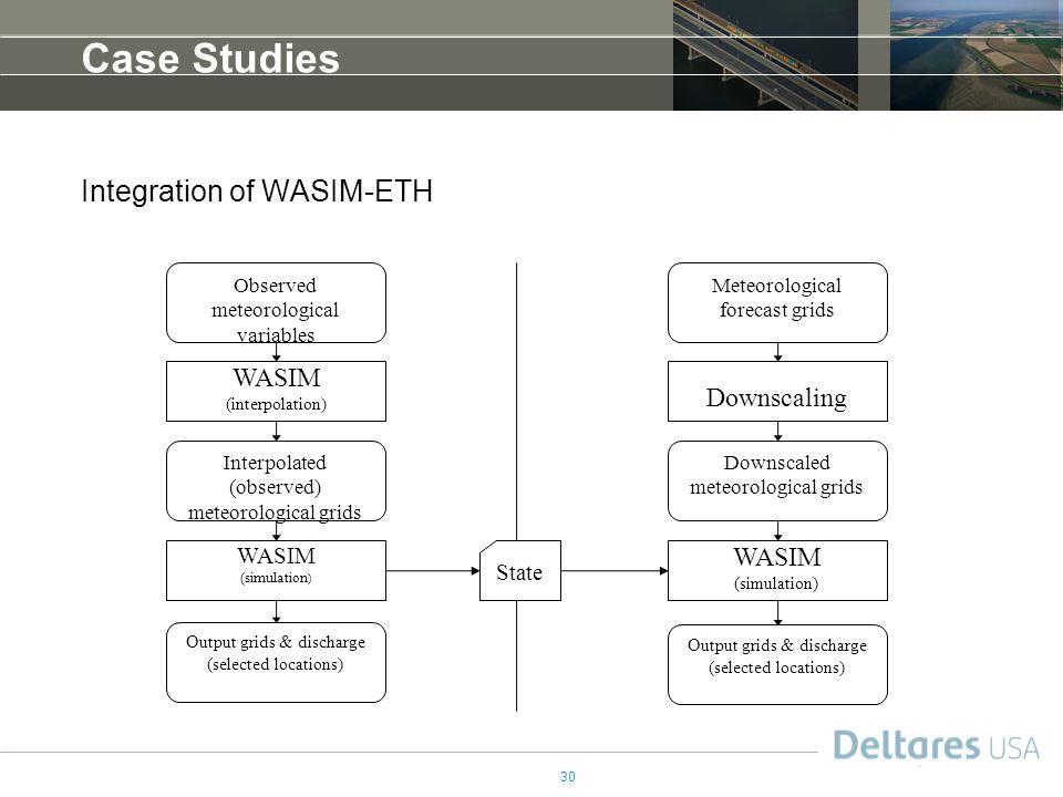 Case Studies Integration of WASIM-ETH WASIM (interpolation)