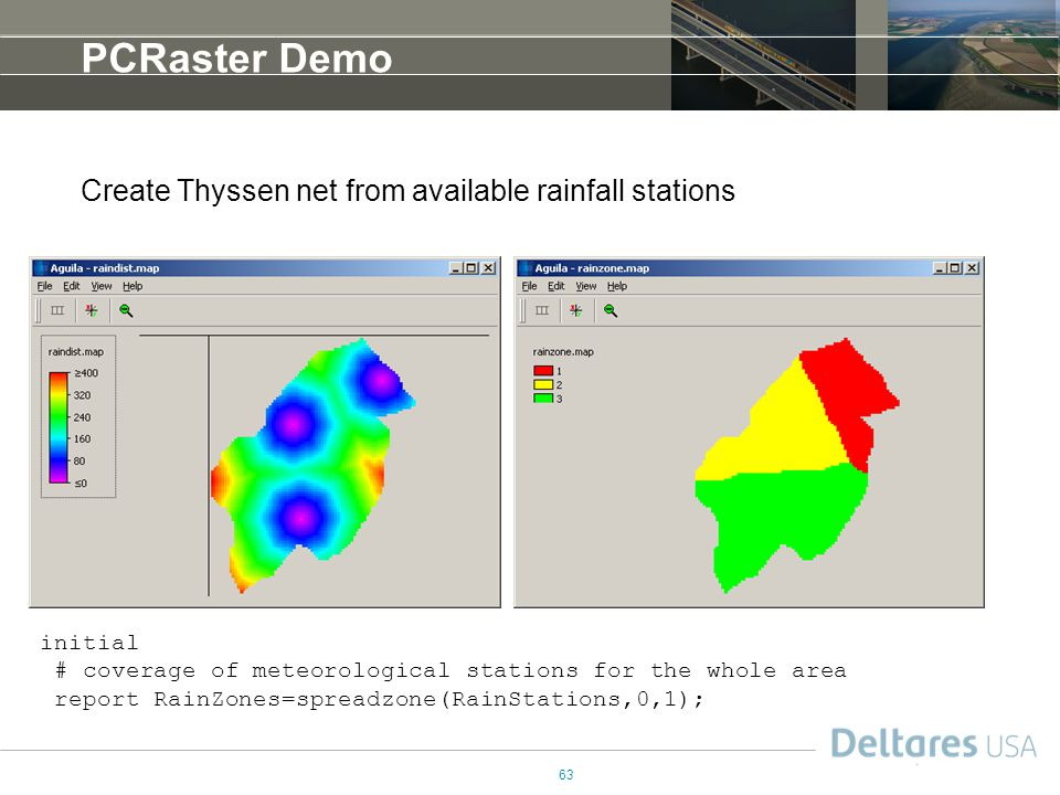 PCRaster Demo Create Thyssen net from available rainfall stations