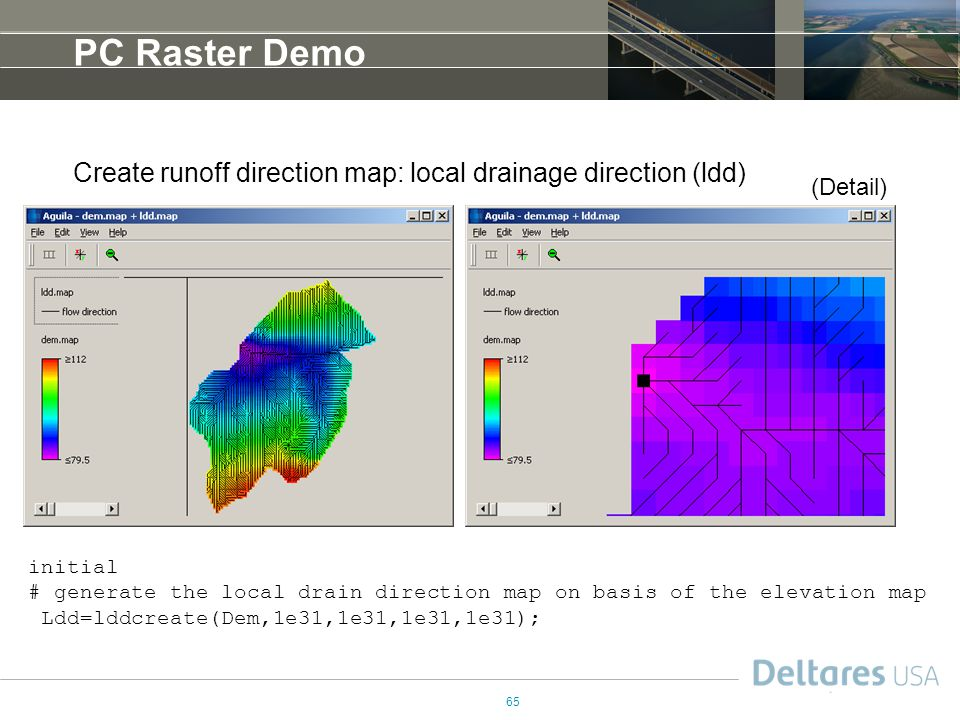 PC Raster Demo Create runoff direction map: local drainage direction (ldd) (Detail) initial.