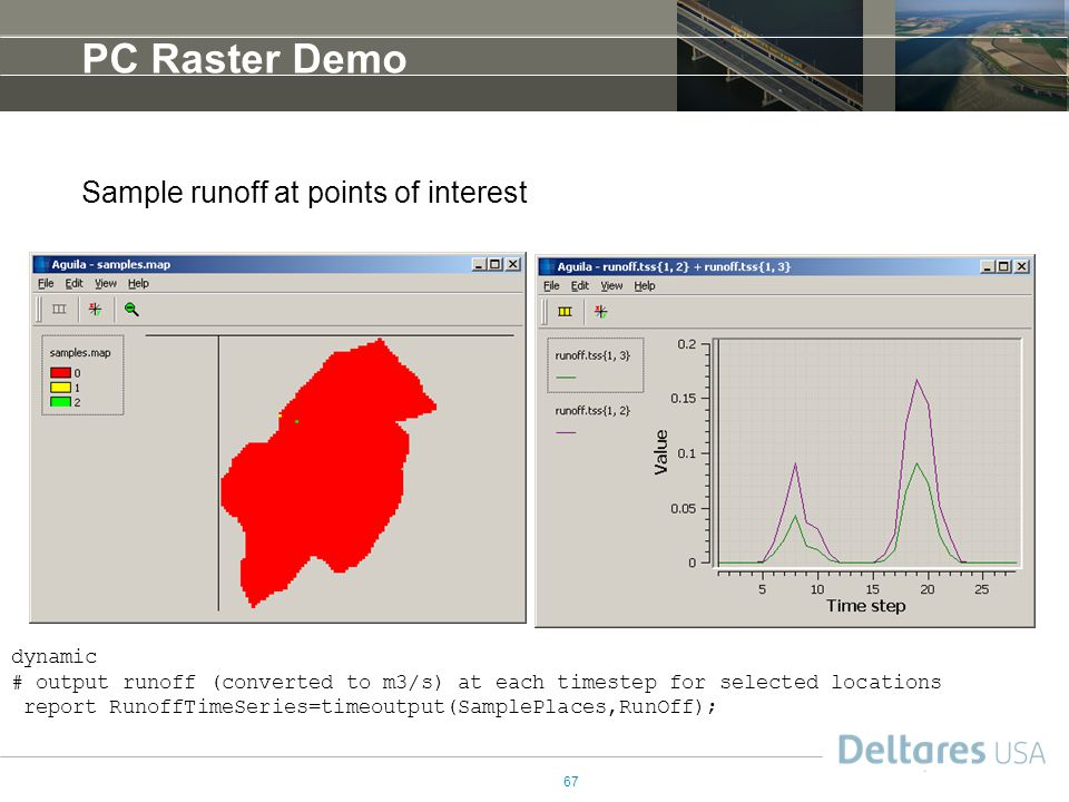 PC Raster Demo Sample runoff at points of interest dynamic