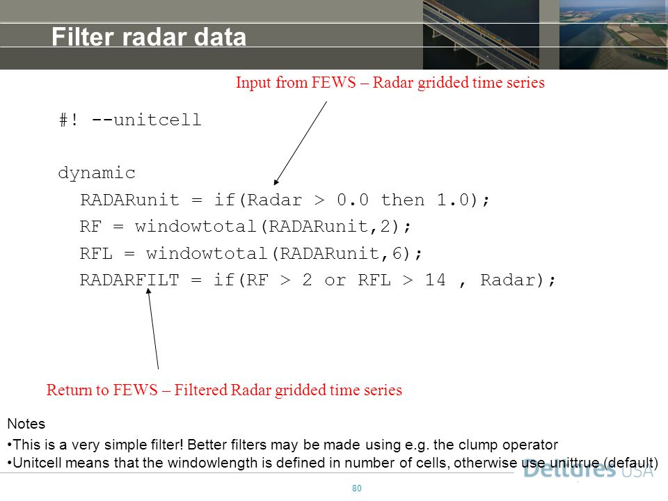 Filter radar data #! --unitcell dynamic